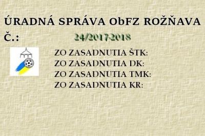 Úradná správa ObFZ Rožňava č. 24/2017-2018