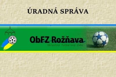 Úradná správa ObFZ Rožňava č. 35 / 2015-2016