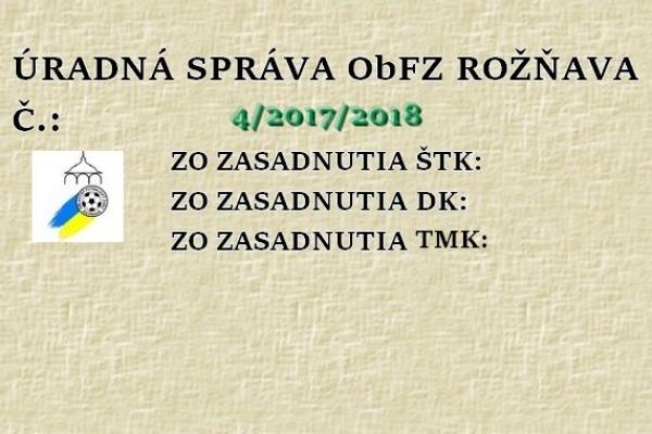 Úradná správa ObFZ Rožňava č. 4/2017-2018