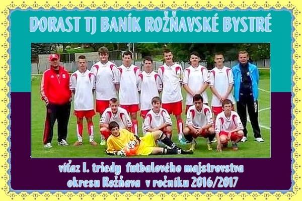 Novodobá história dorastencov TJ Baník Rožňavské Bystré teraz aj s majstrovským titulom