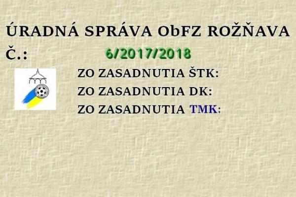 Úradná správa ObFZ Rožňava č. 6/2017/2018