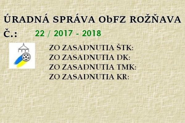 Úradná správa ObFZ Rožňava č. 22/2017-2018
