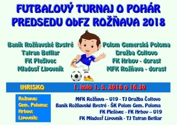Prvého mája začína prvé kolo futbalového turnaja o Pohár predsedu ObFZ Rožňava 2018