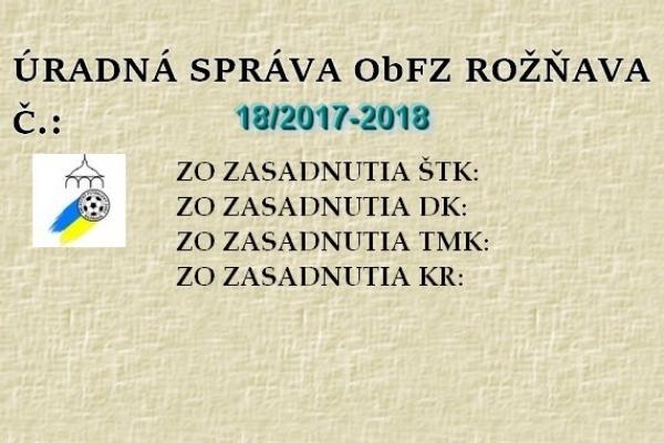 Úradná správa ObFZ Rožňava č. 18/2017-2018