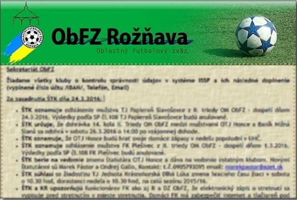 Úradná správa ObFZ Rožňava č. 30 / 2015-2016