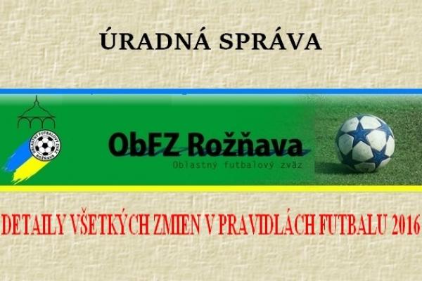 Úradná správa ObFZ Rožňava č. 36 / 2015-2016