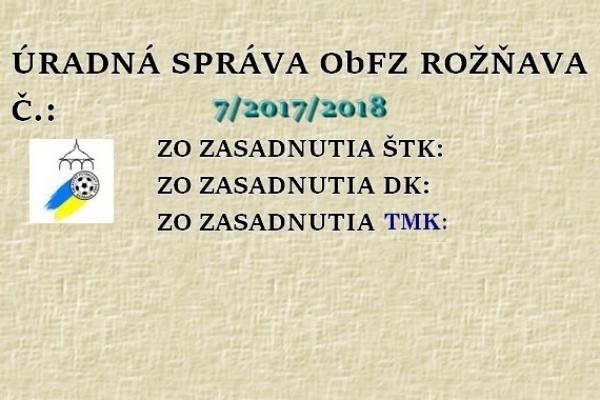 Úradná správa ObFZ Rožňava č. 7/2017/2018