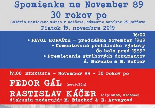 Spomienkový deň k Novembru 89 v rožňavskej Galérii
