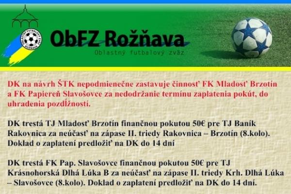 Úradná správa ObFZ Rožňava č. 31 / 2015-2016