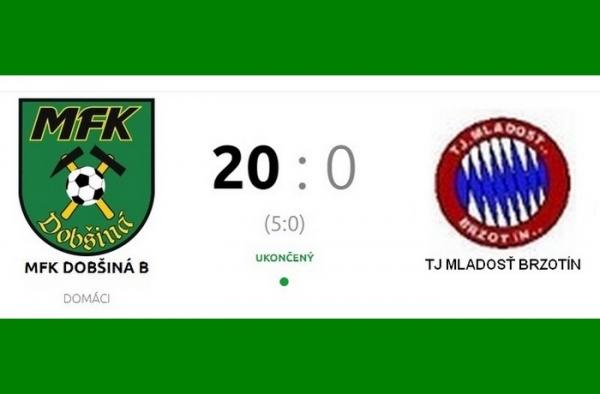 Dvadsaťgólová výhra sprevádza rezervu MFK Dobšiná do šiestej ligy