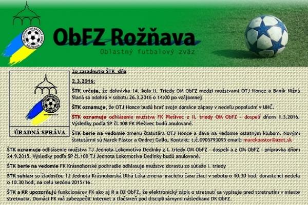 Úradná správa ObFZ Rožňava č. 22 / 2015-2016