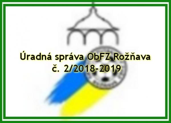Úradná správa ObFZ Rožňava č. 2/2018-2019