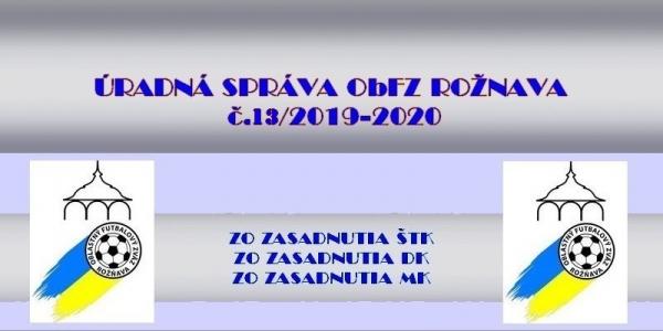 Úradná správa ObFZ Rožňava č. 13/2019-2020