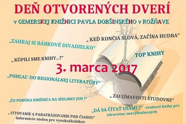 V Gemerskej knižnici Pavla Dobšinského v Rožňave pripravili 3. marca 2017 Deň otvorených dverí
