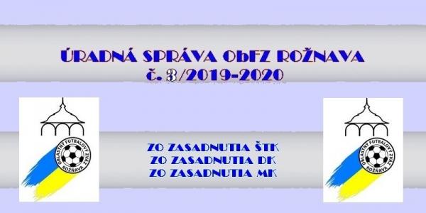 Úradná správa ObFZ Rožňava č. 3/2019-2020