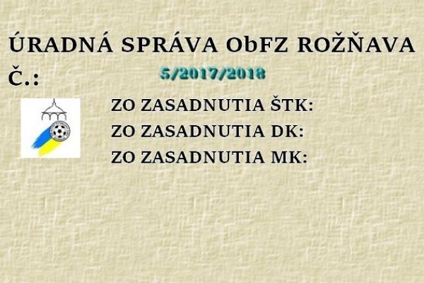 Úradná správa ObFZ Rožňava č. 5/2017/2018