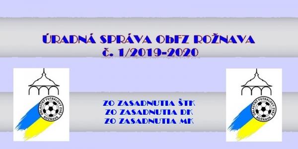 Úradná správa ObFZ Rožňava č. 1/2019-2020