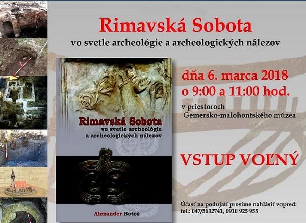 PhDr. Alexander Botoš predstaví svoju knihu Rimavská Sobota vo svetle archeológie a archeologických nálezov