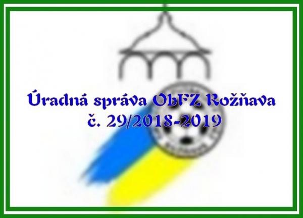 Úradná správa ObFZ Rožňava č. 29/2018-2019