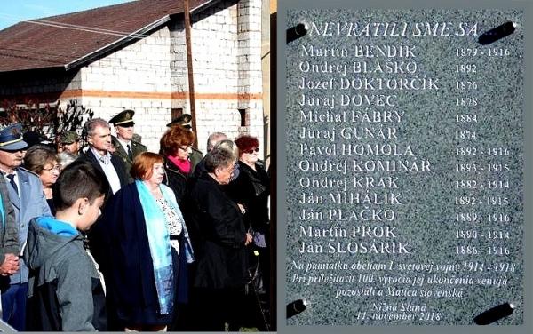 Sté výročie ukončenia 1. svetovej vojny si pripomenuli a odhalili pamätnú tabuľu v Nižnej Slanej
