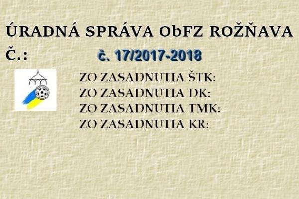 Úradná správa ObFZ Rožňava č. 17/2017-2018