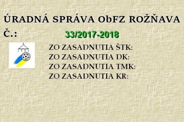 Úradná správa ObFZ Rožňava č. 33/2017-2018