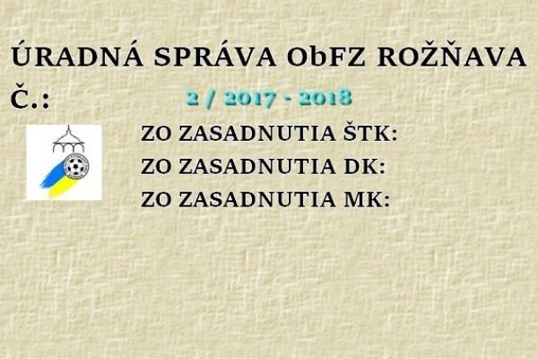 Úradná správa ObFZ Rožňava č. 2/ 2017-2018