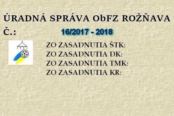Úradná správa ObFZ Rožňava č. 16/2017-2018