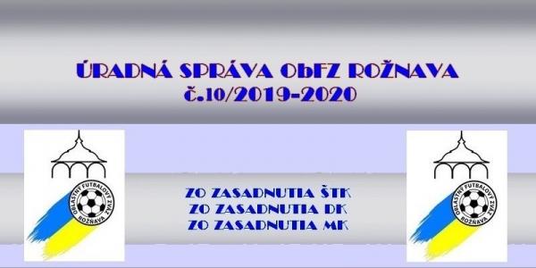 Úradná správa ObFZ Rožňava č. 10/2019-2020