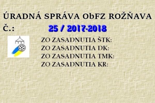Úradná správa ObFZ Rožňava č. 25/2017-2018