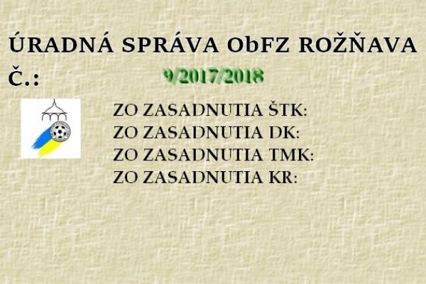 Úradná správa ObFZ Rožňava č. 9/2017/2018