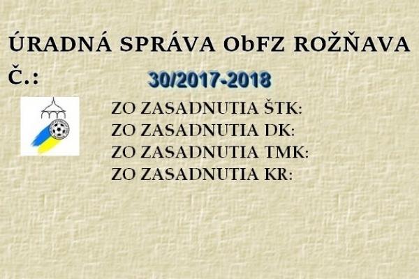 Úradná správa ObFZ Rožňava č. 30/2017-2018