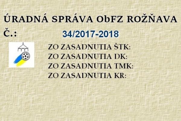 Úradná správa ObFZ Rožňava č. 34 / 2017-2018