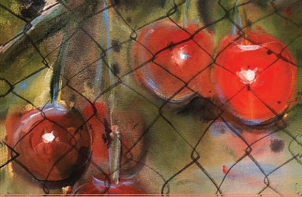 Ryosuke Kumakuru, japonský maliar žijúci v New Yorku na výstave Andreja Dúbravského v Rožňave