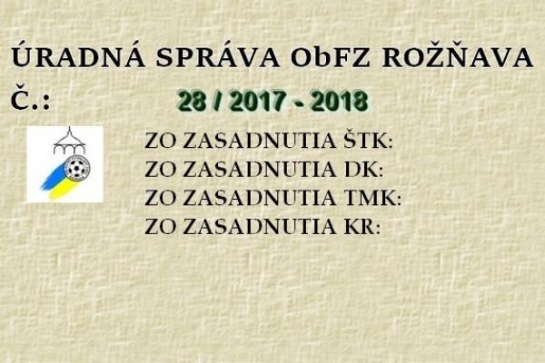 Úradná správa ObFZ Rožňava č. 28/2017-2018