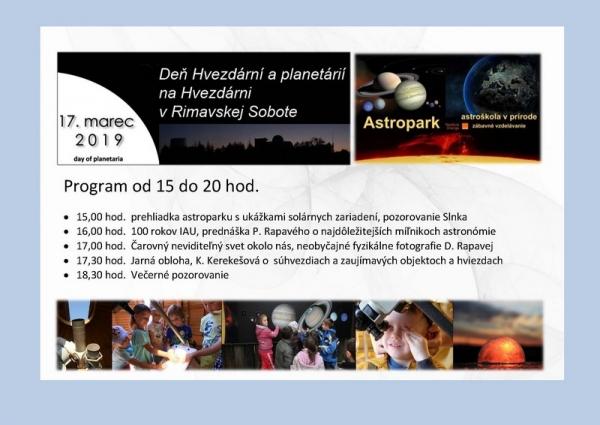 Posledná nedeľa pred jarnou rovnodennosťou bude patriť Dňu hvezdární a planetárií aj na Hvezdárni v Rimavskej Sobote